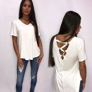 Tops - White high low top
